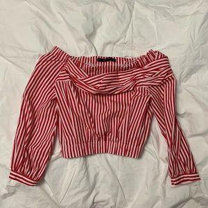 zara red stripes off shoulder blouse